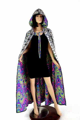 Silver & Glow Worm Reversible Cape - Coquetry Clothing
