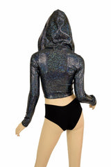 Black Shattered Glass Zipper Crop Hoodie - Coquetry Clothing