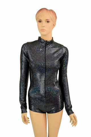 "Black Holo ""Stella"" Zipper Romper - Coquetry Clothing"