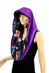 Galaxy & Purple HUGE Reversible Festival Hood - Coquetry Clothing