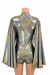 Deep Plunge Silver Holographic Romper - Coquetry Clothing