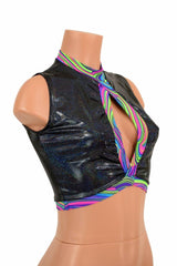 Sleeveless Keyhole Top in Black Holo - Coquetry Clothing