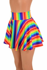 Rainbow Stripe Rave Skirt - Coquetry Clothing