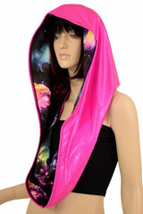 Pink & Galaxy HUGE Reversible Festival Hood - Coquetry Clothing