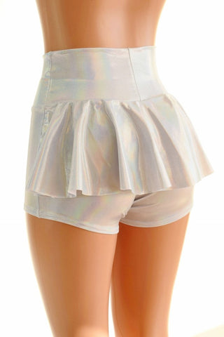 Flashbulb Holographic Ruffle Rump Shorts - Coquetry Clothing
