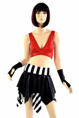 Black & White Stripe and Red Pirate Set - Coquetry Clothing