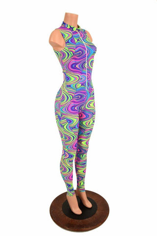 "UV Glow Worm ""Stella"" Collar Catsuit - Coquetry Clothing"