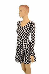 Long Sleeve Checkered Skater Dress - Coquetry Clothing