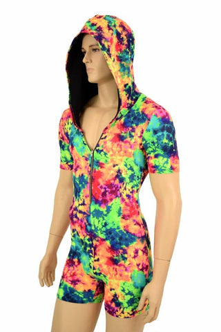 Mens Tee Length Sleeve Acid Splash Romper - Coquetry Clothing