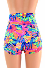 Tahitian Floral High Waist Shorts - Coquetry Clothing