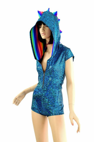 Turquoise Shattered Glass Romper - Coquetry Clothing