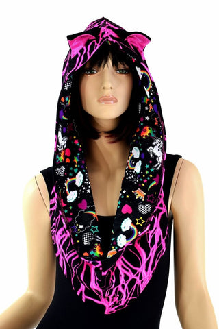 Pink Lightning Reversible Infinity Festival Hood - Coquetry Clothing