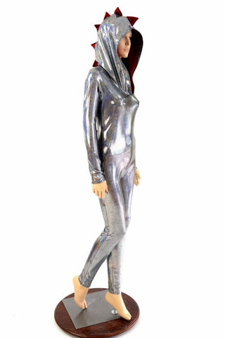 Silver Holographic Dragon Catsuit - Coquetry Clothing