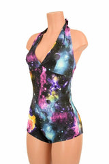 "UV Glow Galaxy Print ""Monroe"" Halter Romper - Coquetry Clothing"