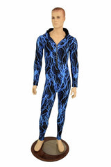 Mens Blue Lightning Catsuit - Coquetry Clothing