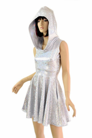 Silvery Holographic Pocket Skater Dress - Coquetry Clothing