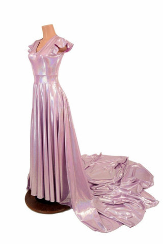 Lilac Holographic Circle Cut Gown - Coquetry Clothing