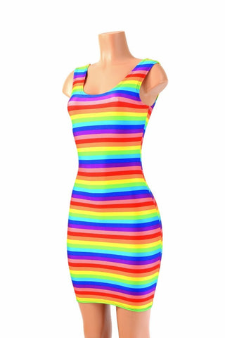 Rainbow Stripe Tank Dress - Coquetry Clothing