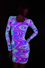 Neon Glow Worm Long Sleeve Dress - Coquetry Clothing