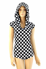 Checkered Hoodie Romper - Coquetry Clothing