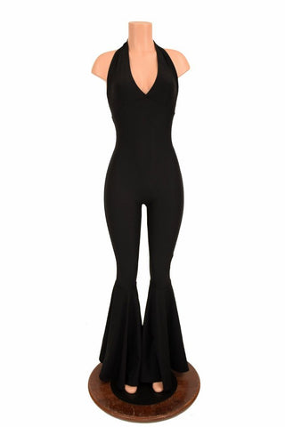 156391 Glow Worm Monroe Halter Catsuit with Bell Bottom Flares
