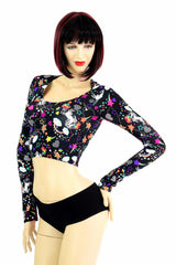 Unicorns and Rainbows Long Sleeve Crop Top - Coquetry Clothing