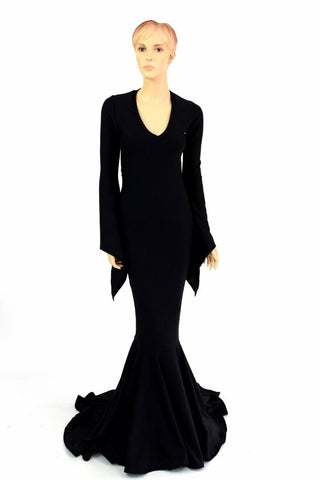 Black Zen Morticia Puddle Train Gown - Coquetry Clothing
