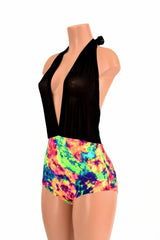 """Josie"" Romper in Black Mesh & Acid Splash - Coquetry Clothing"