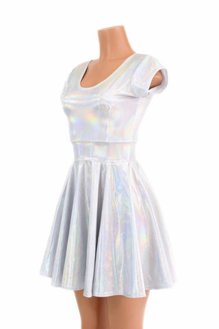 Flashbulb Holographic Skater Dress - Coquetry Clothing