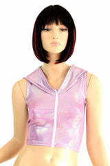 Lilac Dragon Zipper Front Crop Top - Coquetry Clothing