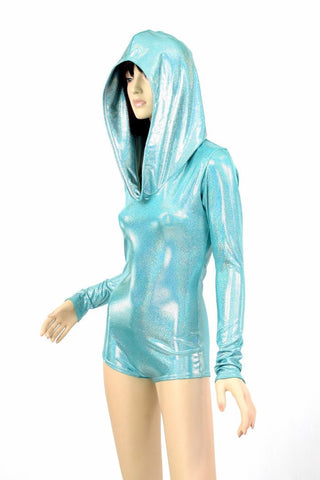 Seafoam Holographic Hoodie Romper - Coquetry Clothing