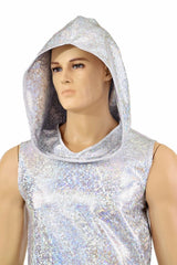Mens Silver & White Hoodie - Coquetry Clothing