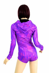 Purple Long Sleeve Hoodie Romper - Coquetry Clothing