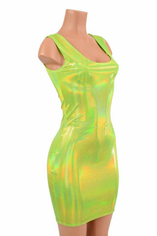 Lime Green Holographic Tank Dress - Coquetry Clothing