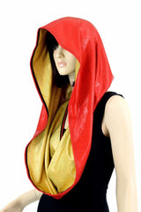 Red & Gold HUGE Reversible Festival Hood - Coquetry Clothing
