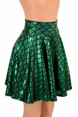 "Green Scale Mermaid 19"" Skater Skirt - Coquetry Clothing"