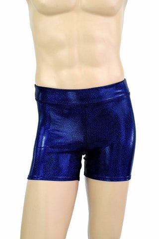 "Mens ""Rio"" Shorts in Blue Sparkly Jewel - Coquetry Clothing"