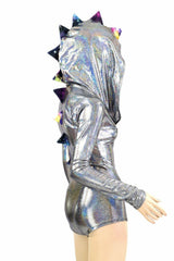 Silver Zippered Dragon Romper - Coquetry Clothing