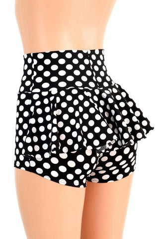 Black & White Polka Dot Ruffle Rump Shorts - Coquetry Clothing