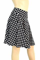 "19"" Black & White Polka Dot Skater Skirt - Coquetry Clothing"