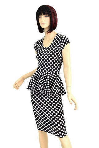 Black & White Polka Dot Peplum & Skirt Set - Coquetry Clothing
