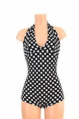 "Polka Dot ""Monroe"" Halter Romper - Coquetry Clothing"