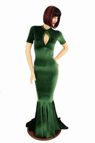 Green Velvet Keyhole Gown - Coquetry Clothing