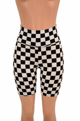 Black & White Check Bike Shorts - Coquetry Clothing