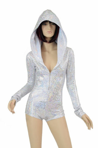 Silvery White Long Sleeve Hoodie Romper - Coquetry Clothing