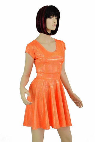 201d0d29 ... Orange Sparkly Jewel Cap Sleeve Skater Dress Coquetry Clothing ...