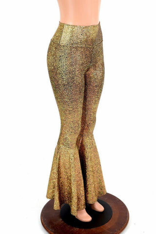 Gold Holographic Bell Bottoms - Coquetry Clothing