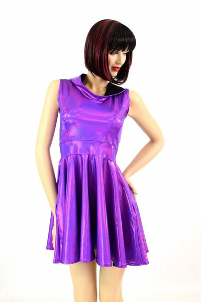 Grape Holographic Pocket Skater Dress Coquetry Clothing