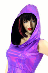 Grape Holographic Pocket Skater Dress - Coquetry Clothing