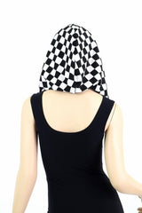 HUGE Black & White Checkered & Gold Festival Hood - Coquetry Clothing